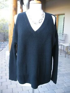 COZY-! $89 CASLON Nordstrom Jet Black Cold Shoulder Tunic Sweater Top  XS/S