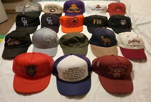 Lot of 18-Vintage Adjustable Ball Caps w/Tag. Sports, Spirits, Designer, Humor.