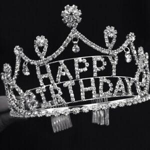 Women Girls Birthday Tiara Crown Rhinestone Crystal Queen Princess Party Crown