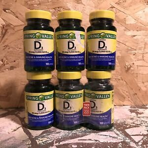 6 Spring Valley Vitamin D3 25mcg 1000 IU, 100 Softgels Each  *Exp 5/22+* (326)