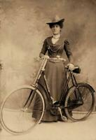 Antique Photo ... Woman Posing with Bicycle Studio Photo ... Photo Print 5x7