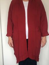 Lagenlook Ribbed Shoulder Cotton Hooded Plus Size Cardigan Size 14-18