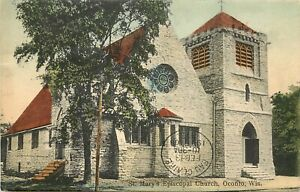 c1908 Hand-Colored Postcard; St. Mary's Episcopal Church, Oconto WI Posted