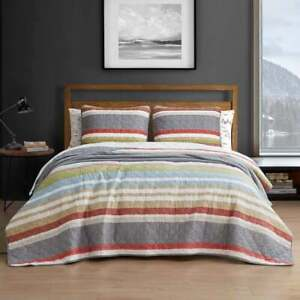 Eddie Bauer 2 Piece Twin Quilt Set Bedspread Multi Color Striped 100% Cotton