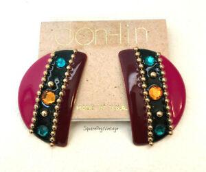Vintage DON-LIN Enamel Pierced Crescent Earrings on Original Card Colorful!