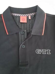 "Volkswagon VW GTI Black & Red 100% Cotton Airtex Polo Shirt ""GTI"" Logo Medium"