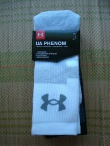 UNDER ARMOUR PHENOM TRAINING CREW SOCKS 3PK  LARGE     ~NEW IN PACKAGE~