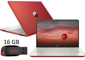 NEW HP 15 Notebook Intel Dual Core 2.4GHz 128GB SSD 4GB RAM WIN10 Red + USB 16GB