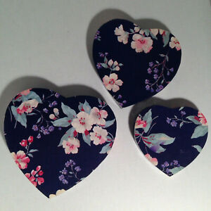3 Vintage Sturdy Heart Shaped Nesting, Stacking Boxes, Beautiful Floral Design.