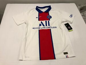 NWT $165.00 Nike Mens Paris Saint-Germain 21' Vapor Match Away Shirt White LARGE