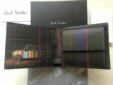"BORDE Gráfico ""Mini Paul Smith 'Cuero Negro Cartera de Monedas -"