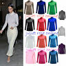 LADIES WOMENS LONG SLEEVE TURTLE POLO NECK TOP ROLL NECK TOPS JUMPER 8 TO 26