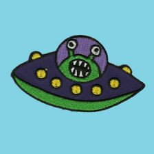 Alien in UFO Patch Iron On Sew cute kids happy green spaceship space ship