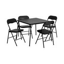 Flash Furniture 5 Piece Black Folding Card Table And Chair Set [JB-1-GG]