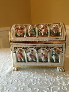 Hand Painted Capodimonte Large Ornate Chest Box with Domed Lid and Gold Borders