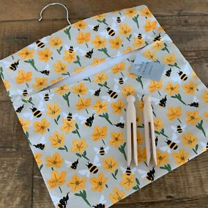Bumble Bee Primrose Hanging Peg Bag Fabric Gisela Graham Yellow Country Vintage
