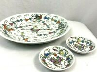 Vintage Hand Painted Porcelain Lg Serving Bowl/ 2 Matching Sauce Bowls Chinese