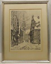 """"""" paysage urbain en hiver avec calèche """" LITHO unl. signé en cadre"""