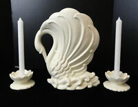 """Vintage HAEGER Pottery LARGE 12"""" White SWAN VASE & Water Lily CANDLE HOLDERS SET"""