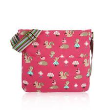 Woodland Critters Fuchsia Canvas Cross Body School Messenger Bag Birthday Gift