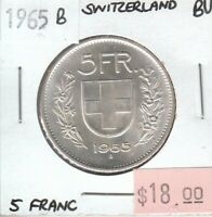 Switzerland 5 Francs 1965 Silver UNC Uncirculated