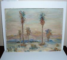 EARLY CALIFORNIA IMPRESSIONISM~PALM TREES SUNSET~OIL PAINTING~SIGNED~FLYNN