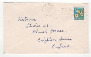 1969 NEW ZEALAND Cover TE KUITI to BRIGHTON Sussex GB SG849 Flowers SLOGAN
