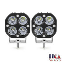 2X 3in 40W LED Work Light Bar Pods Spot Driving Fog UTV SUV Offroad 4WD White US