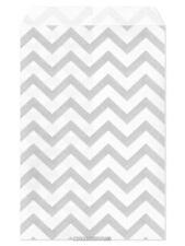 """100 Flat Merchandise Paper Bags: 4 x 6"""", Silver Grey Chevron Stripes on White"""