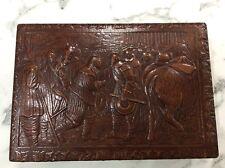 Vintage Leather on Wooden Cigarette Box Match Striker Compartment
