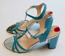 FRANCO SARTO TEAL BLUE OPEN TOE STRAPPY 4 INCH HEEL SANDAL  NEW  Size 10  $109