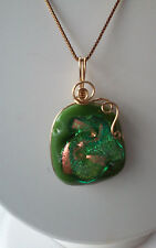 Artisan Handcrafted Gold Filled Wire Wrap Glass Pendant Necklace USA