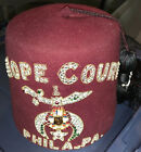 "VINTAGE SHRINERS JEWELED FEZ CAP ""Hope Court Phila. Pa "" w/Tassel & Pin"
