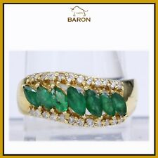 GOLD EMERALD RING 18K YELLOW GOLD MARQUISE EMERALD DIAMOND RING SIZE 11 (md12