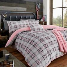 Teddy Highland Check Fleece Luxury Duvet Cover Set Cosy Warm Soft Bedding Set