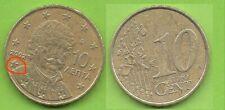 Grèce; 10 cent, 2002, atelier France (lettre F), pièce ayant circulé