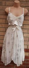 ALL DOLLED UP WHITE FLORAL SEQUIN BEADED BELTED PARTY FLARE SKATER DRESS 14 L
