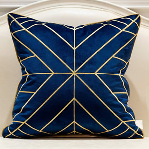 Avigers 20 x 20 Inches Navy Blue Gold Striped Cushion Cases Luxury European Thro