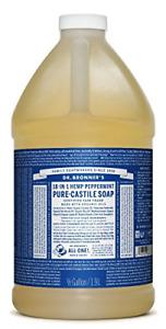 Dr. Bronners Pure-Castile Liquid Soap - Peppermint 64oz.
