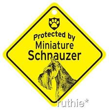 Protected by Miniature Schnauzer Window Sign Madein USA