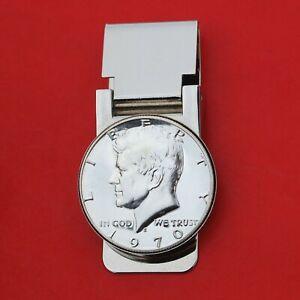 US Year 1964 - 1970 Kennedy Half Dollar Silver BU Unc Coin Hinged Money Clip NEW