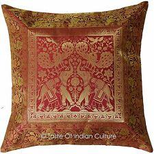 "17"" Burgundy Pillow Cushion Cover Silk Brocade Throw Indian Bohemian Decorative"
