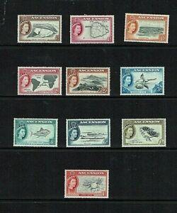 Ascension: 1956, Queen Elizabeth definitive, short set to 1/-, Mint