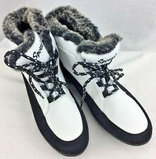 WOMENS SPORTO Willow Winter Wedge Ankle Boot - White and Black - Size 8M