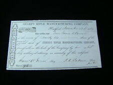 Rare 1869 Sharps Rifle Manufacturing Co. Stock Certificate Signed By J.C. Palmer