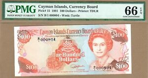 CAYMAN ISLANDS: 100 Dollars Banknote,(UN PMG66),P-15,Low S/N, 1991,No Reserve!
