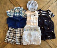 Summer Lot 9 Baby Boy Clothes 6-9 Carters Ralph Lauren Gap  Janie & Jack & Hat