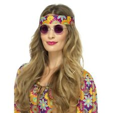 Adults 60's 70s Purple Mirrored Hippie Round Fancy Dress Specs Accessory