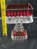 Vintage Jeanette Red Depression Glass Wedding Box Candy Dish No Lid