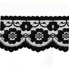 """5 METRES Quality flat Black Lace Trimming  70 mm 2.1"""" Trim Craft Scalloped Edge"""